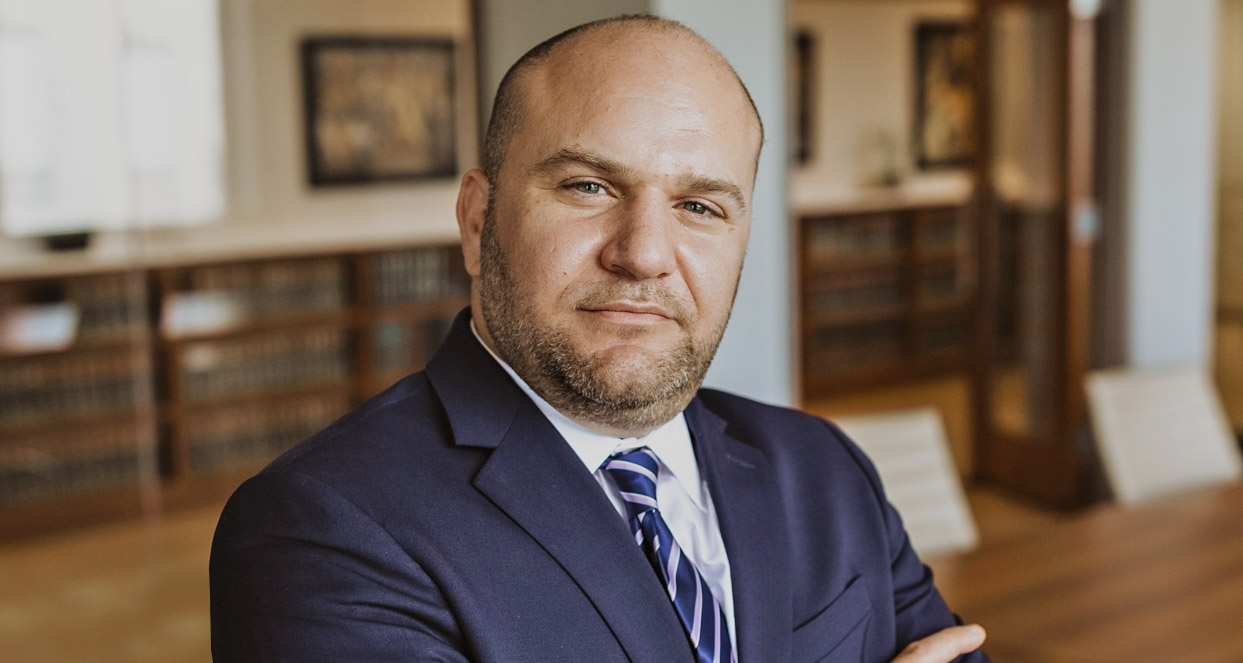 Attorney Anthony Orlandi in the offices of BS&J.